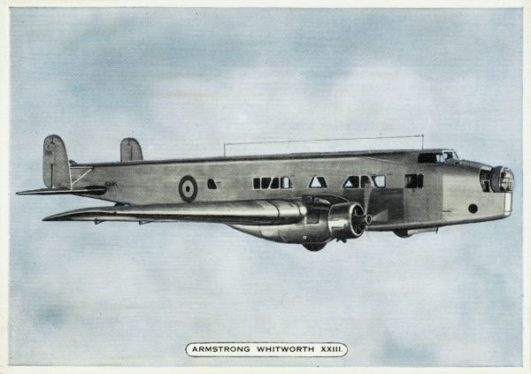 This is the Armstrong Whitworth XXIII, prototype of the 'Whitley' bomber : though relatively advanced, it will be obsolescent by the time war breaks out in 1939