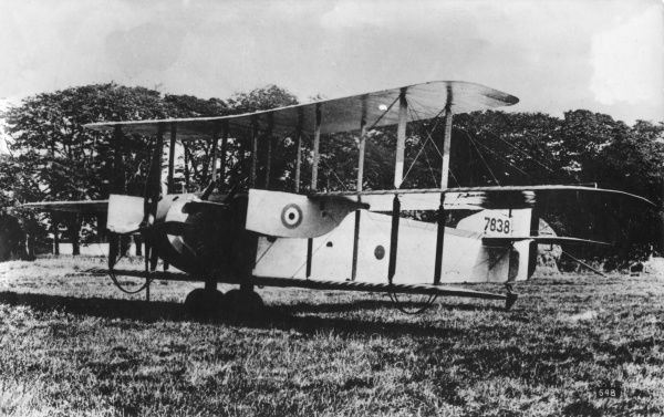A British Armstrong Whitworth FK 12B triplane on an airfield during the First World War. It was equipped with Rolls Royce Eagle engines. Date: 1914-1918