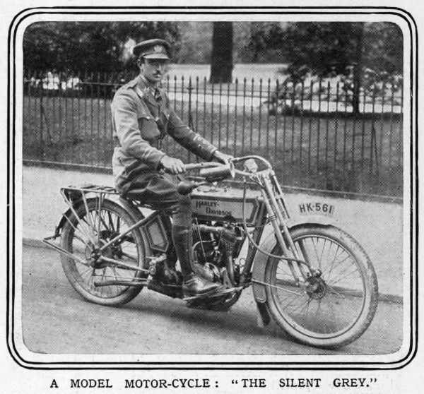 A photograph of the latest 1916 model of motorcycle by American manufacturer Harley Davidson as tested by the military