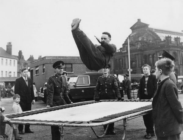 A recruitment demonstration by the army in Doncaster, Yorkshire using a trampoline