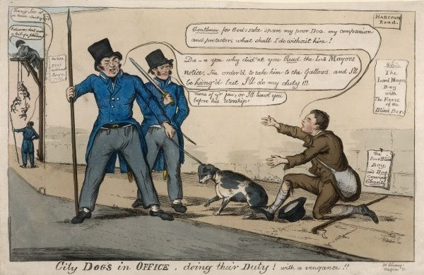 Doing their duty : ordered by the Lord Mayor of London to clear the streets of stray dogs, police arrest the companion of a poor blind beggar