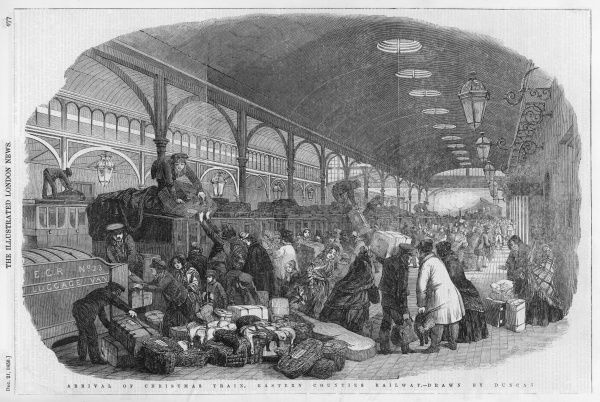 Passengers loading their luggage onto an Eastern Counties Railway train, preparing to depart for Christmas