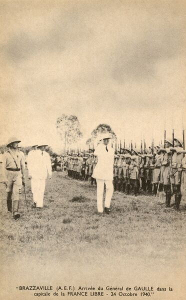 Brazzaville, Congo - the arrival of French General de Gaulle at this former French Colony on 24th October 1940 Date: 1940