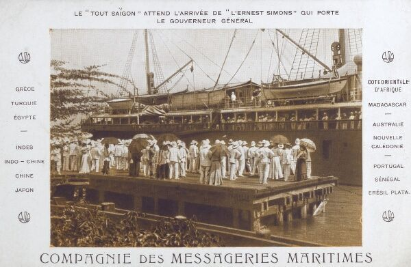 The arrival of the Governor General at Saigon (Ho Chi Minh City) in the Steamship 'Ernest Simons'. Everyone (who is anyone) is gathered on the harbour to greet him. Date: circa 1910