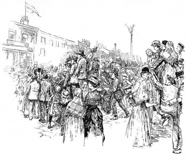 Crowd scene drawn by A. Forestier during the arrival of Prince Albert Victor at Sheffield in 1885