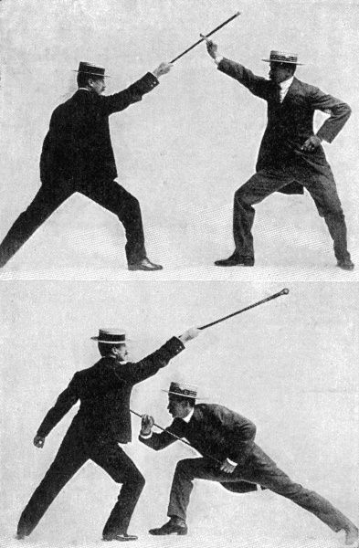 A sequence of two photographs illustrating 'A very serviceable way to disable a taller man than yourself when opposed to him under unequal conditions' from 'Self-Defence with a Walking-Stick' an article by Edward William Barton-Wright