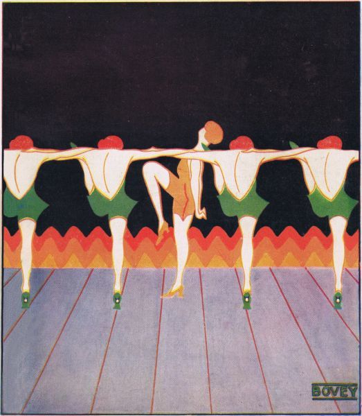 Art deco cover for the magazine Theatre World, February 1925, issue no1. Artwork by Bovey. Date: 1925