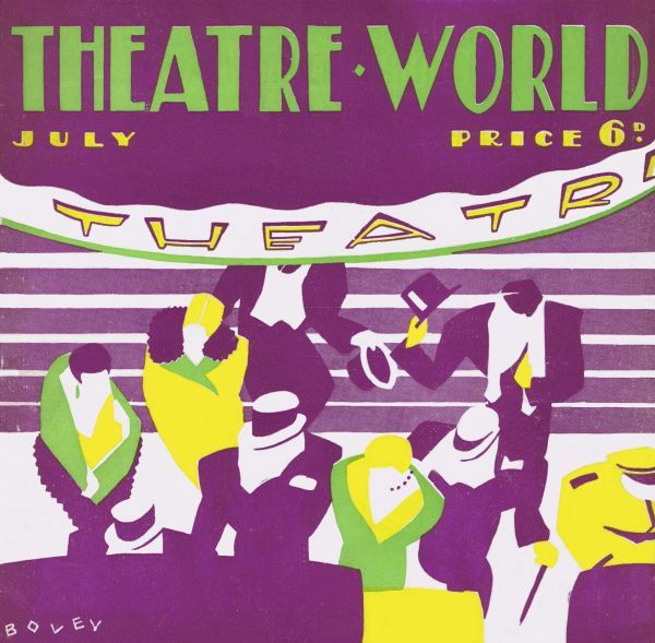 Art deco cover for Theatre World, July 1927. Artwork by Bovey. Date: 1927