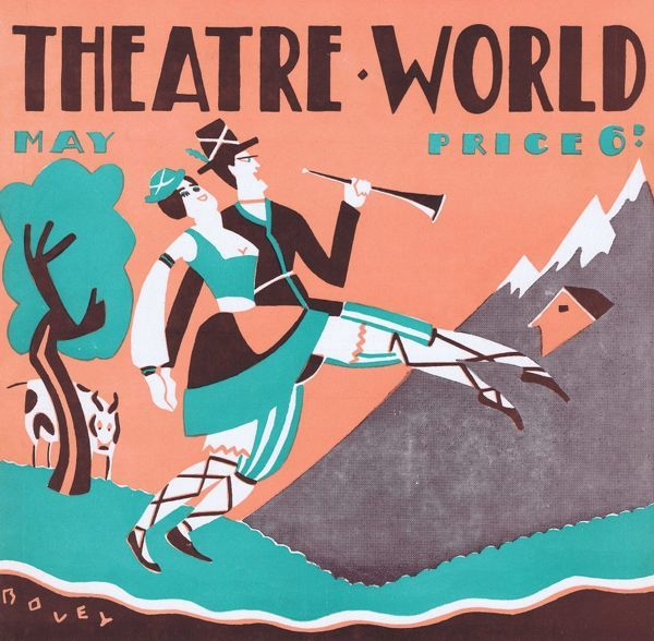Art deco cover for Theatre World, May 1927. Artwork by Bovey. Date: 1927