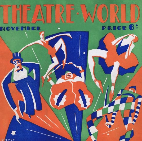 Art deco cover for Theatre World, November 1926. Artwork by Bovey. Date: 1926