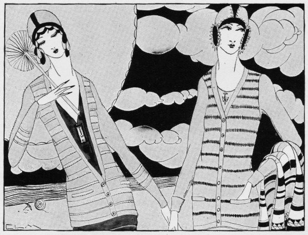 Art deco illustration of women in smart beach sweaters, 1924. Artwork by Charles LeMaire. Date: 1924