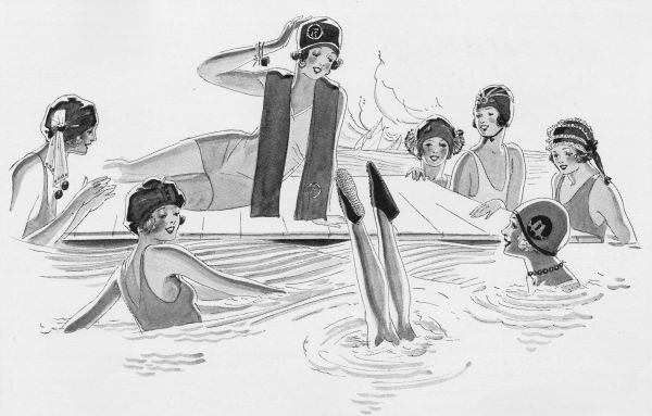 Art deco illustration of women swimming, 1924 Date: 1924