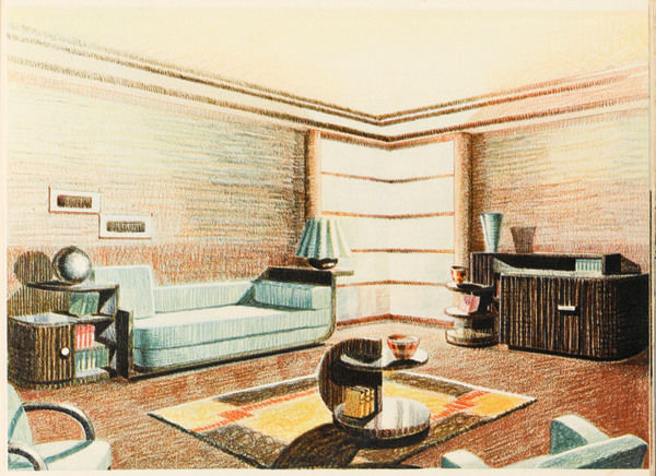 A well designed Art Deco living room with plenty of space