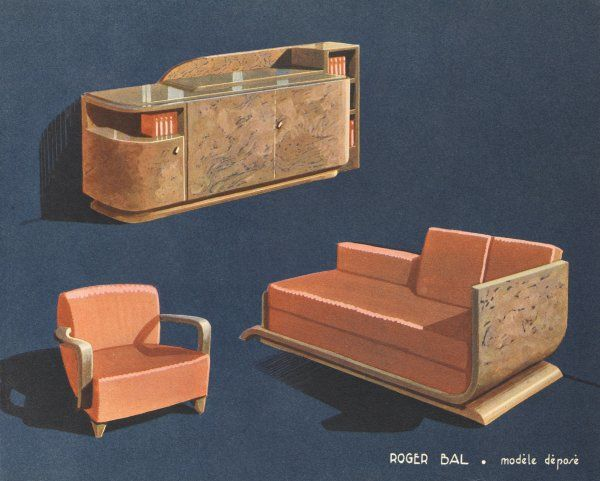 Art Deco sideboard, 'divan- lit' and armchair by the French designer Roger Bal