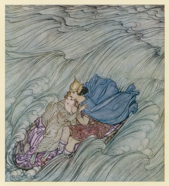 Art rescues Delvcaem from her parents & the waves magically aid the lovers as they travel to Ireland in a coracle