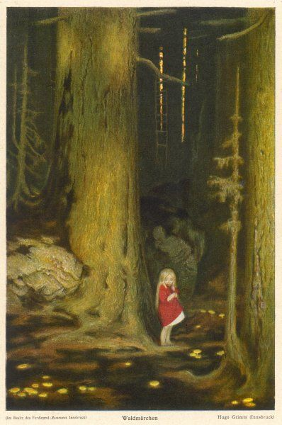 Little girl in big forest