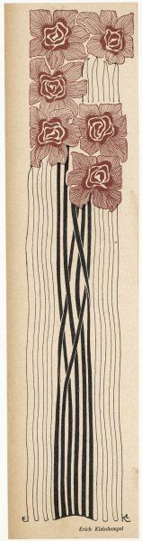 A decorative art nouveau motif of long-stemmed flowers in brown and black