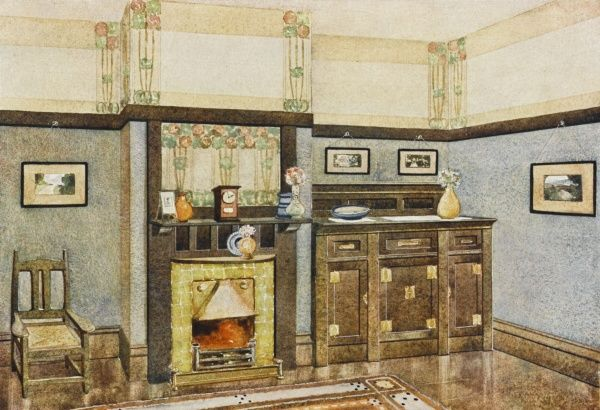 An Art Noveau style dining room with fire place and sideboard