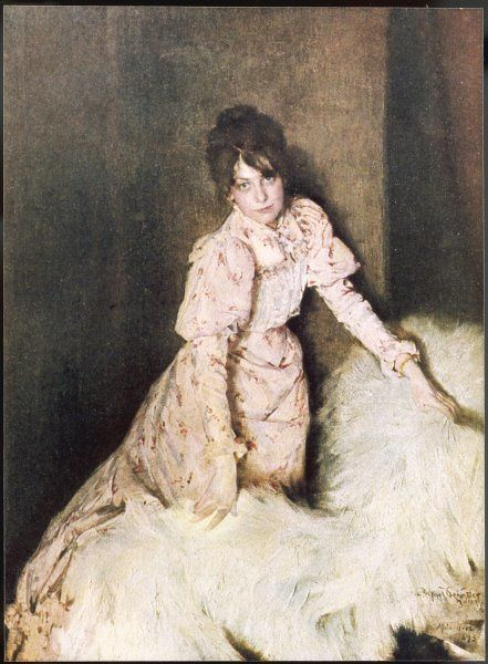 A rather fetching girl in a pink dress lifts a fur rug and looks longingly at the artist