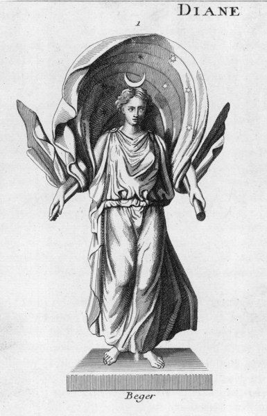 The goddess of childbirth and women's rites of passage, depicted with the new moon on her head and a cape embroidered with stars