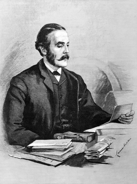 Portrait of A.J. Balfour, Conservative politician and philosopher; drawn when Chief Secretary of Ireland