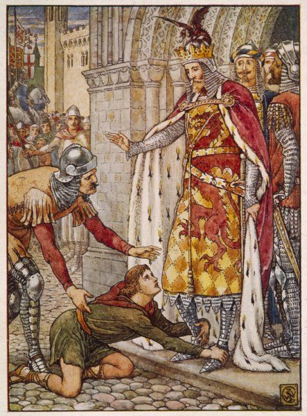 Owain, son of Morgan Le Fay, appeals to his uncle, King Arthur