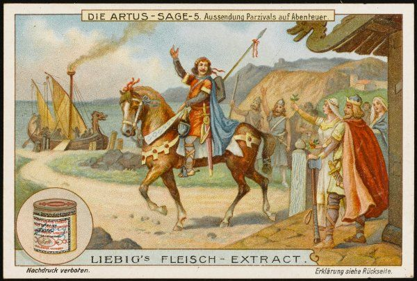 Arthur sends Parsifal off in quest of adventure (abenteuer)