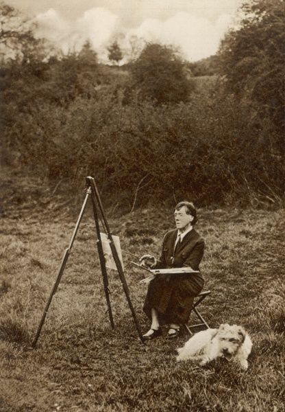 The artist Ethel Walker out painting near her home in Buckinghamshire, accompanied by her dog, 'Boy David&#39