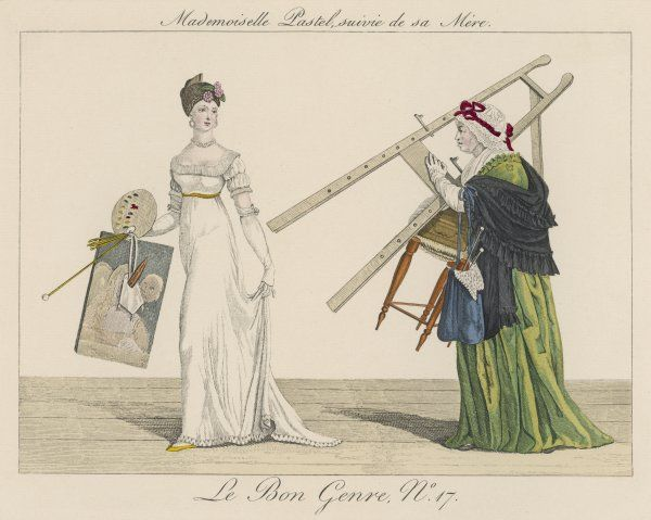 'Mademoiselle Pastel suivie de sa Mere' - a young Frenchwoman sets out to paint, followed by her mother who carries her easel, stool and knitting