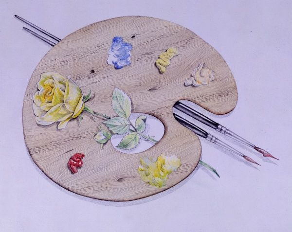 An artist's palette with blobs of different coloured paint, two paintbrushes, and a yellow rose