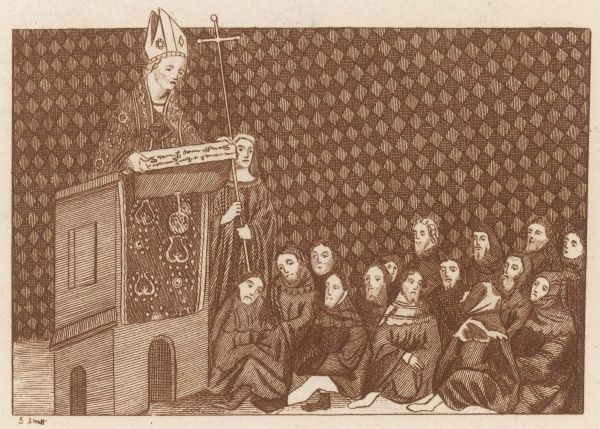 THOMAS ARUNDEL Archbishop of Canterbury, depicted preaching in support of Bolingbroke