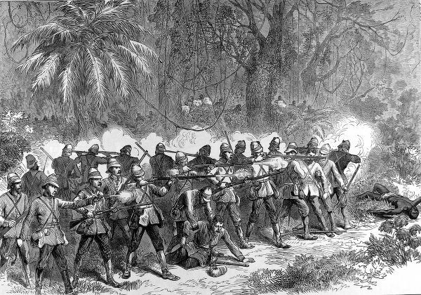 This shows the soldiers from the 42nd Highlanders engaged in the front of the battle against the Ashantis during the 2nd Ashanti War towards the end of 1873