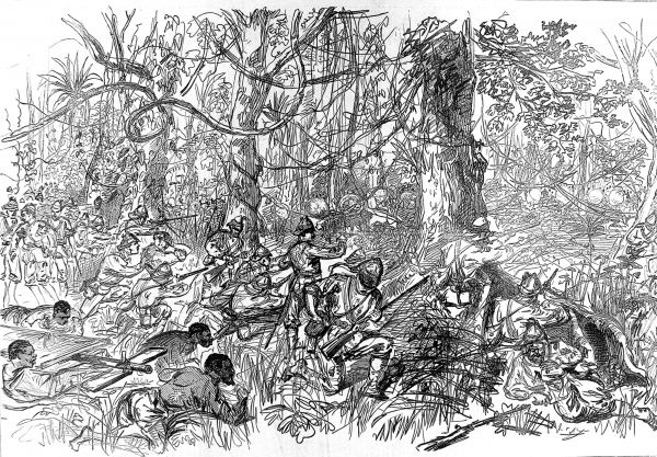 The British and native soldiers advancing on Kumasi (Coomassie)