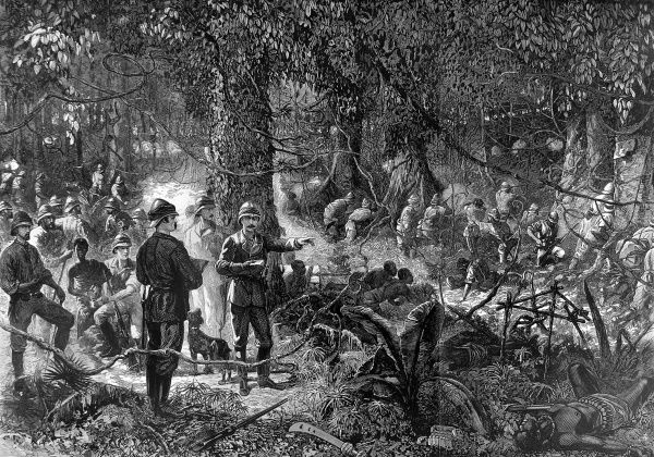 The Black Watch fighting in the forest of Ashanti, from the picture by Louis Desanges