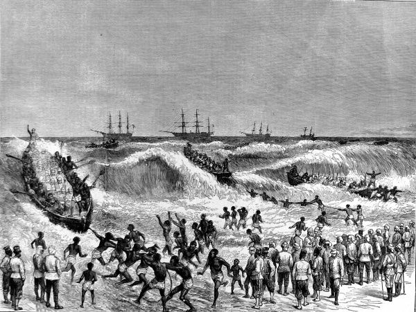 British troops landing on the Gold Coast in their expedition against the Ashanti people to secure the West Coast of Africa