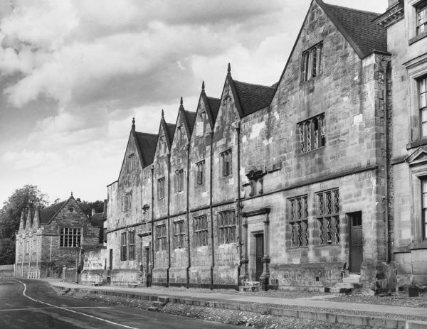 The fine old Grammar school at Ashbourne in Derbyshire founded by Elizabeth I in 1585