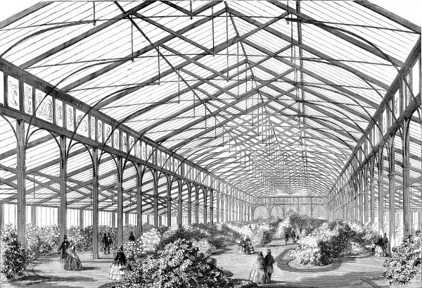 Engraving showing the interior of the Ashburnham Pavilion at Cremorne Gardens, London, during a show of American Plants in 1858. As can be seen from the image, the pavilion was in many regards a rather large glasshouse