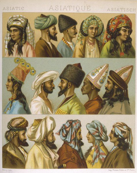 Depicting various styles of headgear worn in 'Asia' including brightly coloured turbans, tall pointed hats with ornate patterns or in fur