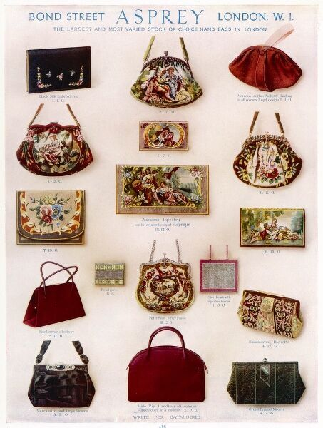 A wide variety of hand bags, clutches and purses available from Asprey of Bond Street including a number of fashionable tapestry and petit point bags