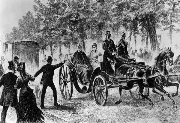 Assassination attempt on Kaiser Wilhelm I of Prussia by Max Hodel. Date: 11th May 1878