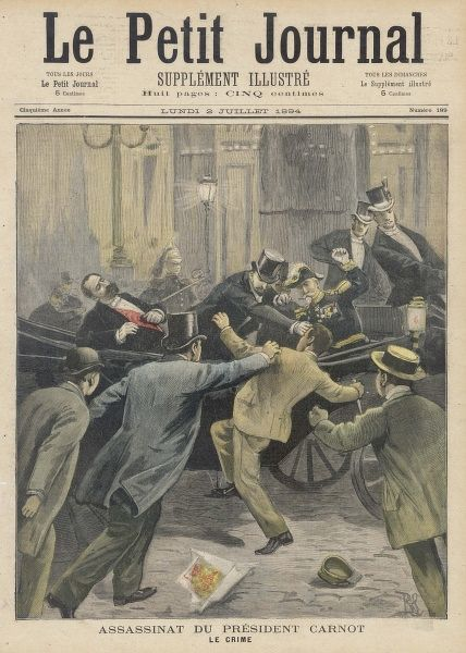 French president Carnot is assassinated by the Italian anarchist Sante Caserio in Lyon