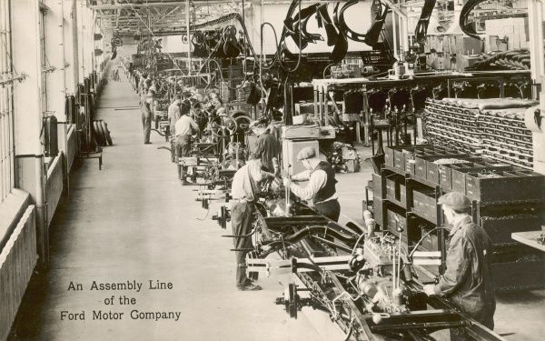 Assembly line at the Rouge Plant, Ford Motor Company, Dearborn, Michigan, USA