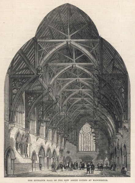The entrance hall of the new Assize Courts at Manchester, showing ladies in crinolines and men in stovepipe hats admiring the Gothic details