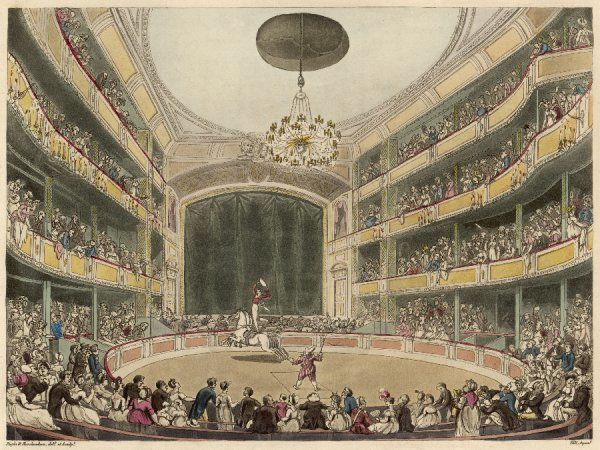 Philip Astley's amphitheatre, Westminster Bridge Road, London : loved by Dickens, this was also the scene of clowns such as Grimaldi, and popular melodrama