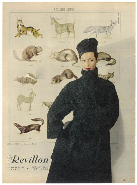 A beautiful woman is wrapped up warmly in a Russian astrakhan coat & hat (toque). A poster depicting animals used for their fur adorns the wall behind her