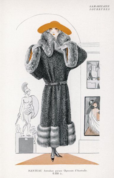 A full-length astrakan coat with a wrap-over front & wide dolman sleeves, a large stand-fall collar, cuffs & hem in Australian opossum. N.B belt with decorative clasp