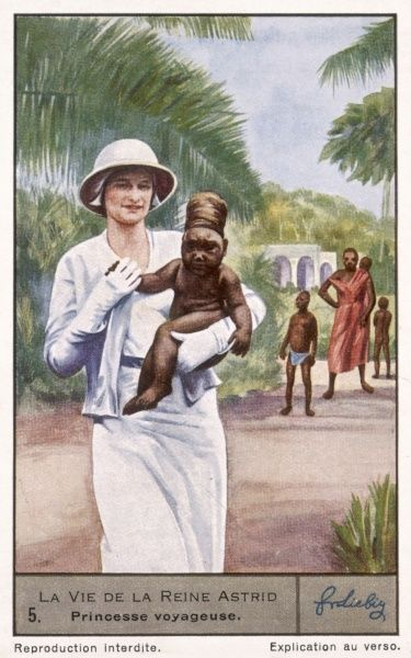 Astrid, wife of prince Leopold of Belgium (later king) visits Belgium's African colonies