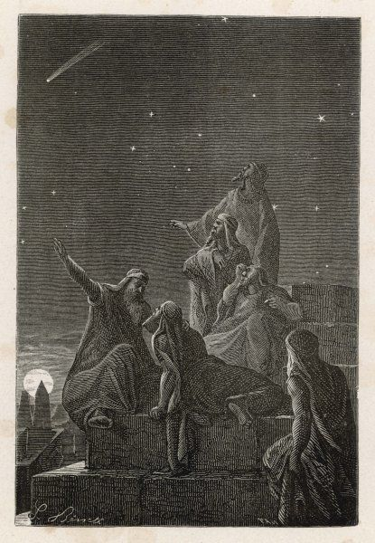 Astronomer-priests of Chaldea observe stars from the Tower of Babylon (Babel)