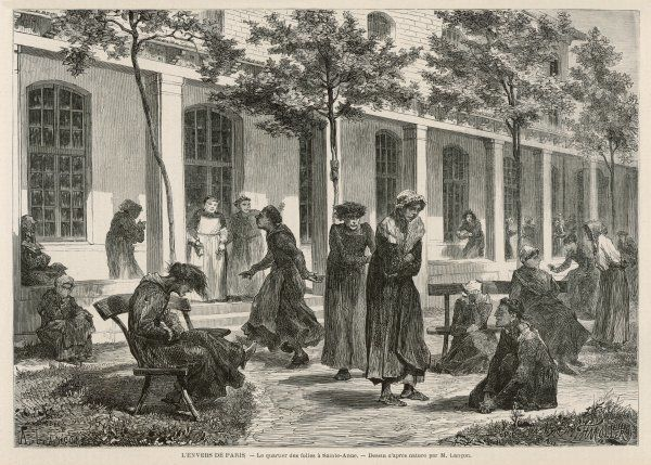 Female patients in the grounds of Sainte-Anne asylum in Paris