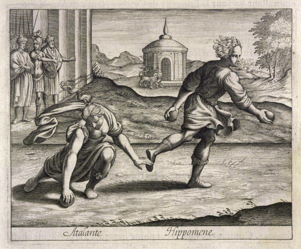 The sports-crazy Atalanta won't wed a man who can't out- run her : Milanion (or Hippomenes) drops golden apples which she can't resist, so he wins the race - and her